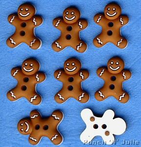 CHUNKY GINGERBREAD MEN Christmas Food Baking Biscuit Cookie Man Craft Buttons