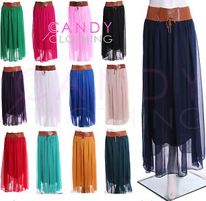 Ladies-Chiffon-Skirt-Long-Maxi-Dress-Colour-Womens-S-Size-M-L-XL-8-18-With-Belt