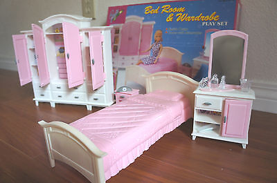 GLORIA Doll house FURNITURE SIZE Mega BEDROOM /& WARDROBE PLAYSET FOR Dolls