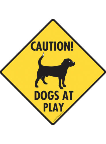 Aluminum Dog Sign and Sticker Caution Dogs at Play with Dog Image