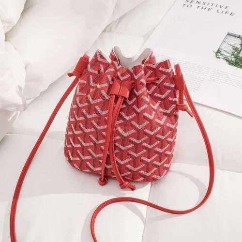 Women mini Crossbody Bucket Bags Leather Drawstrings Shoulder Messenger Bag