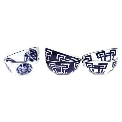 NEW Casa Uno Oriental Bowls, Blue/White (Set of 6)