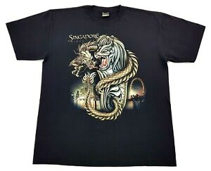 Vintage-Singapore-Dragon-Glow-In-The-Dark-Tee-Black-Size-XL-Mens-T-Shirt-GID