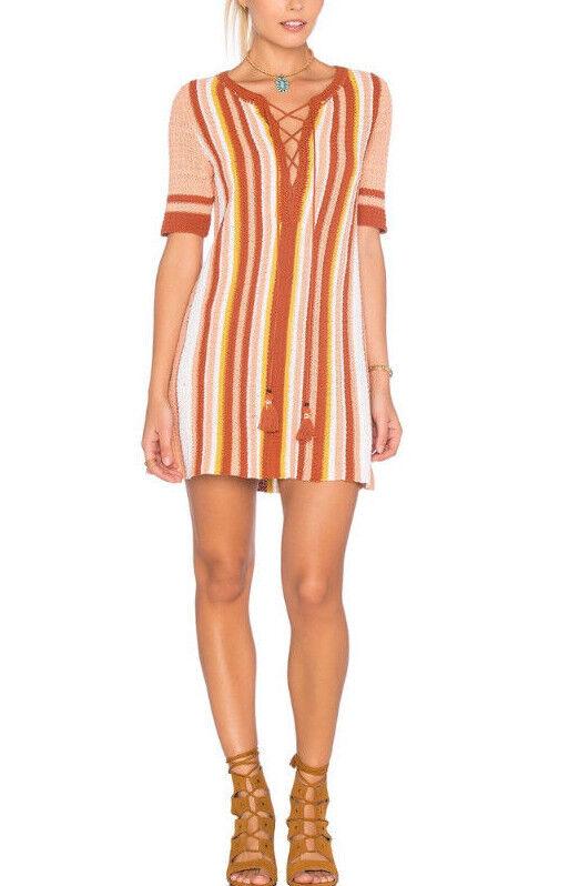 Free People OB483048 Lollipop Lace Up Shift Tunic Sweater Dress Sunset