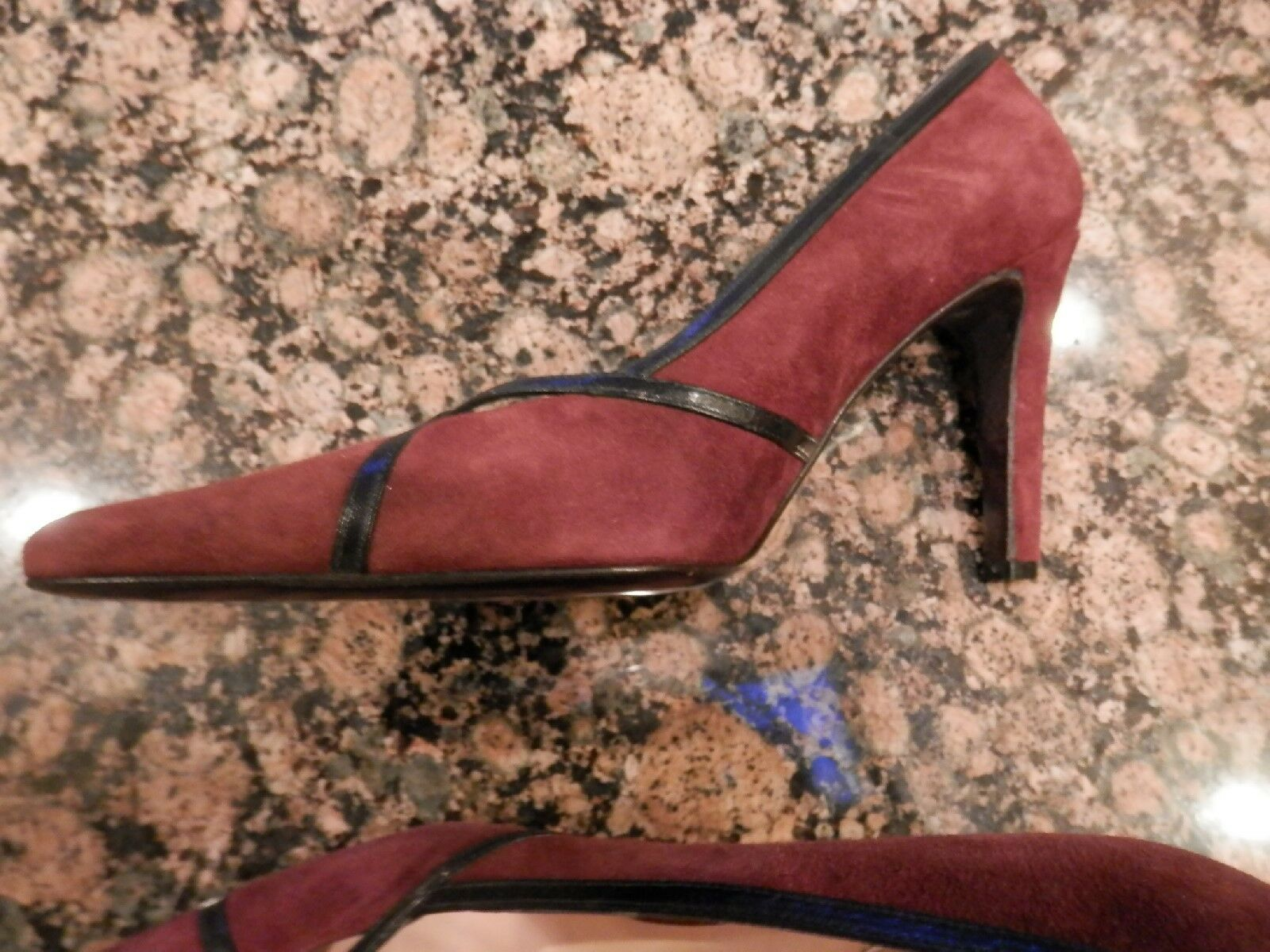 NEW Renaud Pellegrino Women's Shoes Size 6 Burgandy Burgandy 6 Suede w/Black Leather Trim f0265d