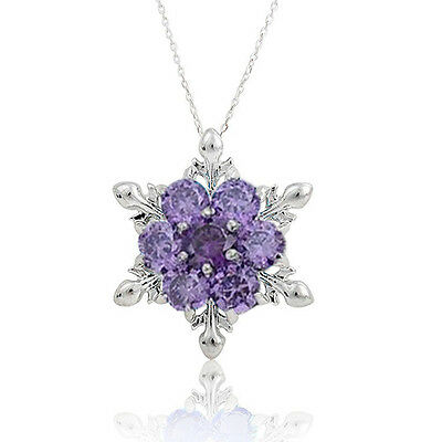 New Frozen 925 Sterling Silver Snowflake Flower Elegant Chain Necklace Pendant