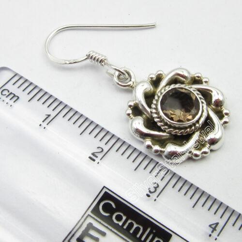"92.5/% Pure STERLING Silver Genuine SMOKY QUARTZ EXTRA ORDINARY Earrings 1.3/"""