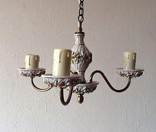 A Vintage Brass & Ceramic Decorative Appliqué Ceiling Chandelier