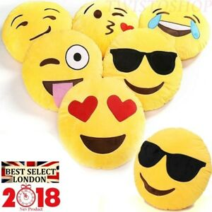 "Emoji Pillow 12"" Emoticon Yellow Cushion Round Stuffed Plush Soft Toy Decor Gift"