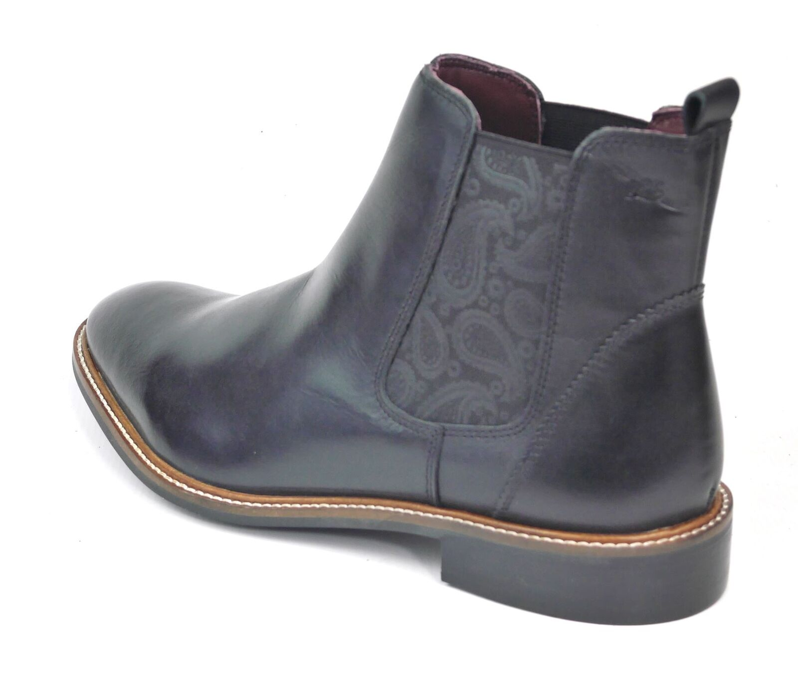 London Brogues Hamilton Leather Pull On Chelsea Boots Black / Parsley