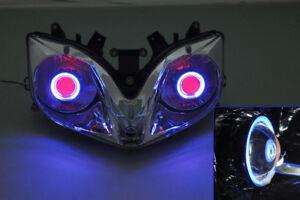 Abs Injection Projector Headlight Bi Xenon Blue Angel Eye For Cbr