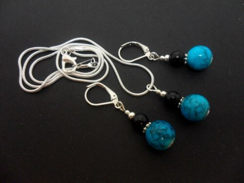 A SILVER PLATED TURQUOISE//BLACK PEARL  NECKLACE AND LEVERBACK EARRING SET NEW.