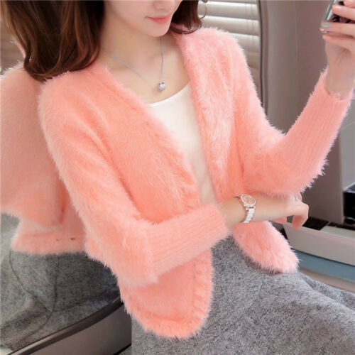 Sweater Mohair Casual Knit Capispalla Coat Open Cardigan Jacket Fluffy Faux Donna vA5qPY