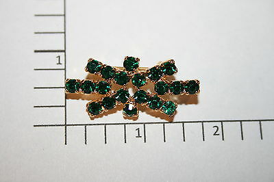 Brooch Pin - Bow Tie Design - Green Rhinestones - Gold Tone