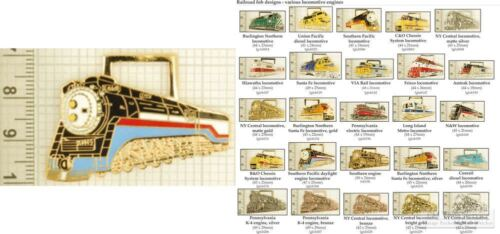 Railroad locomotive decorative fobs various designs /& leather strap options