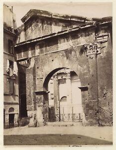 Roma Portico Di Ottavia Italia Foto Eccellente Qualità Vintage Albumina