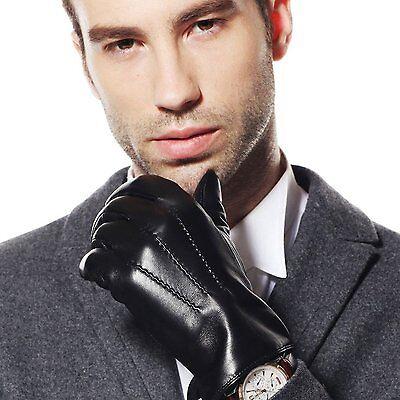 Classic Men's Genuine Lambskin Leather Gloves Black Size M
