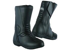 Zapatos-De-Cuero-nuevas-Botas-Moto-Motocicleta-Touring-Touring-Zapatos-raxid-Negro