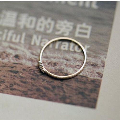Hommes Femmes Imitation Argent or simple 3 Diamants Anneau Zircone Anneaux LD