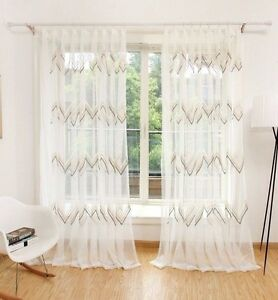 Details about Voile Curtain Drapes Sleeping Living Room Wave with Eyelets  Uni Cream White 1er