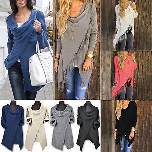 Womens-Tassel-Fringe-Irregular-Hem-Blouse-Ladies-Cardigan-Jumper-Tops-Mini-Dress