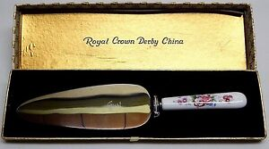 Great-Royal-Crown-Derby-034-POSSY-034-Porcelain-Handle-Pie-Cake-Pastry-Server-w-Case
