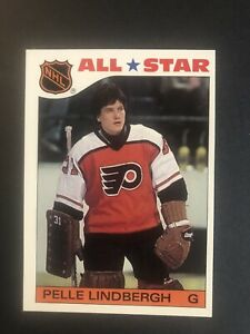 Topps-Hockey-1985-Pelle-Lindbergh-6-All-Star-Sticker-Insert