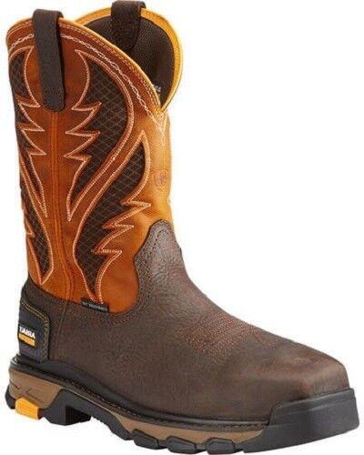 Ariat Men's Intrepid VentTEK Brown & orange Composite Square Toe Boot 10023042