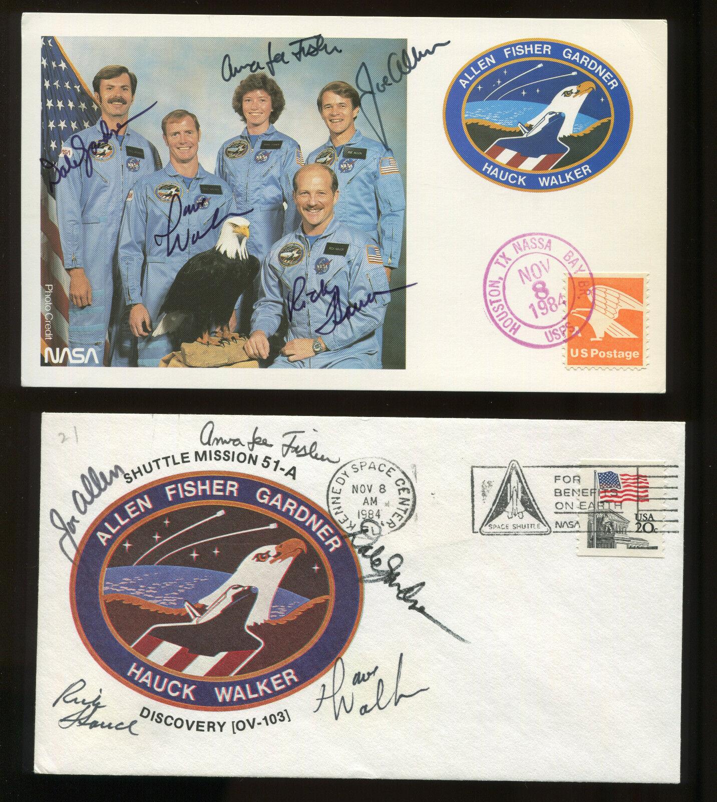 s l1600 - STS-51-A  3 ASTRONAUT CREW SIGNED  ITEMS ALLEN, FISHER, GARDNER, HAUCK