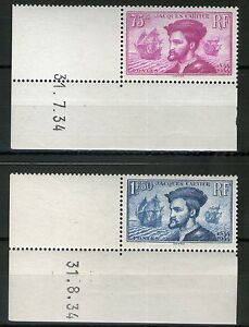 TIMBRES-N-296-297-NEUF-J-CARTIER-SUP-ET-RARE-PAIRE-DATEE-SIGNEE-ROUMET