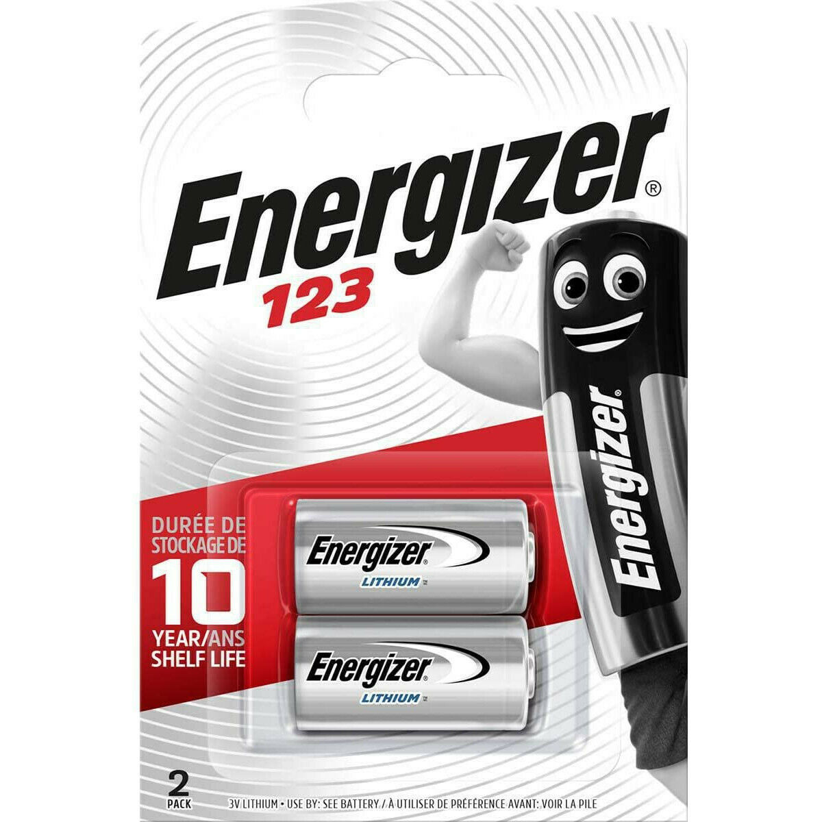 2x Energizer CR123 CR123A 123 Lithium Photo Camera Battery Longest Expiry Date