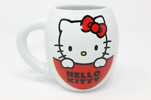 Hello Kitty Large Oval Ceramic 18 OZ Mug Latte Coffee Cup New Free shipping! NWT