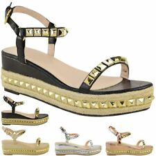 79666408233 item 4 Ladies Womens Studded Low Wedge Espadrille Sandals Platform Rose  Gold Shoes Size -Ladies Womens Studded Low Wedge Espadrille Sandals  Platform Rose ...