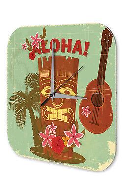 Costruttivo Orologio Da Parete Vacanza Ufficio Viaggi Decorazione Hawaii Aloha Acrilico Orologio Da Parete Retrò-