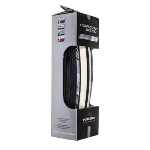 New Vredestein Fortezza Senso All Weather 700x23 Black White Clincher Tire