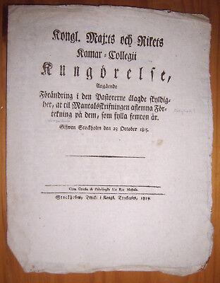 Ausdauernd Stockholm 1815 Dekret Bekanntmachung Verordnung Schweden Büttenpapier Schwedisch