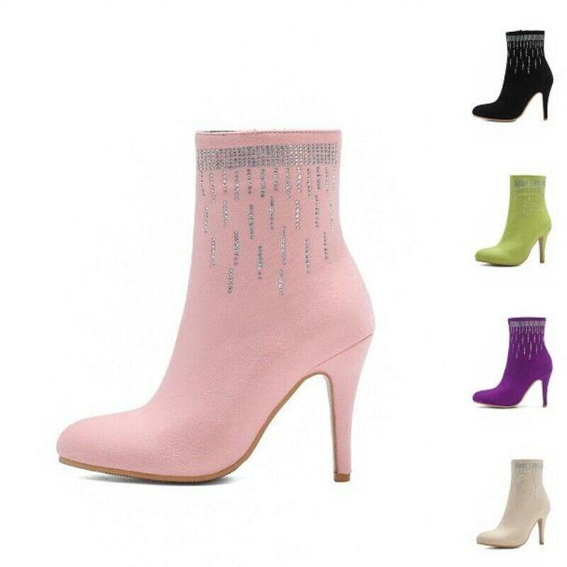 5 Colors Women's Ankle Boots Zip Up Casual Stilettos Heel Suede Fabric Shoes D