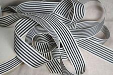 "5 yard 1"" wide vintage petersham grosgrain striped black white ribbon hat"