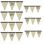 Black & Gold - Flag Banner Bunting - 3.7m/12ft (Birthday Party Decorations)