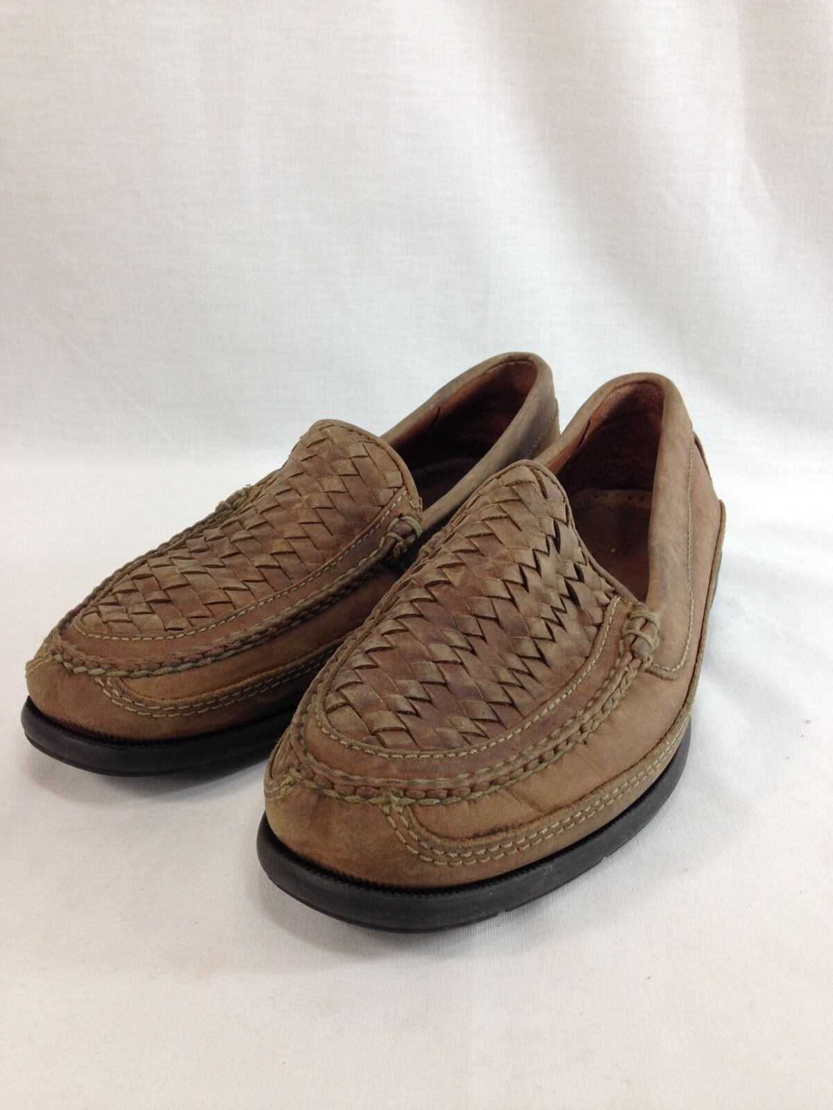 Johnston & Murphy Passport shoes Loafers Wicker Woven Mens 8 Brown Leather Suede