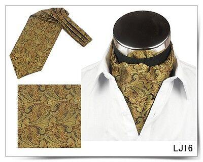 Men Vintage Wedding Formal Cravat Ascot Scrunch Self Neck Tie Gold Black Paisley