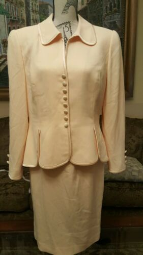 Vintage Travilla Yellow  skirt suit Size 12