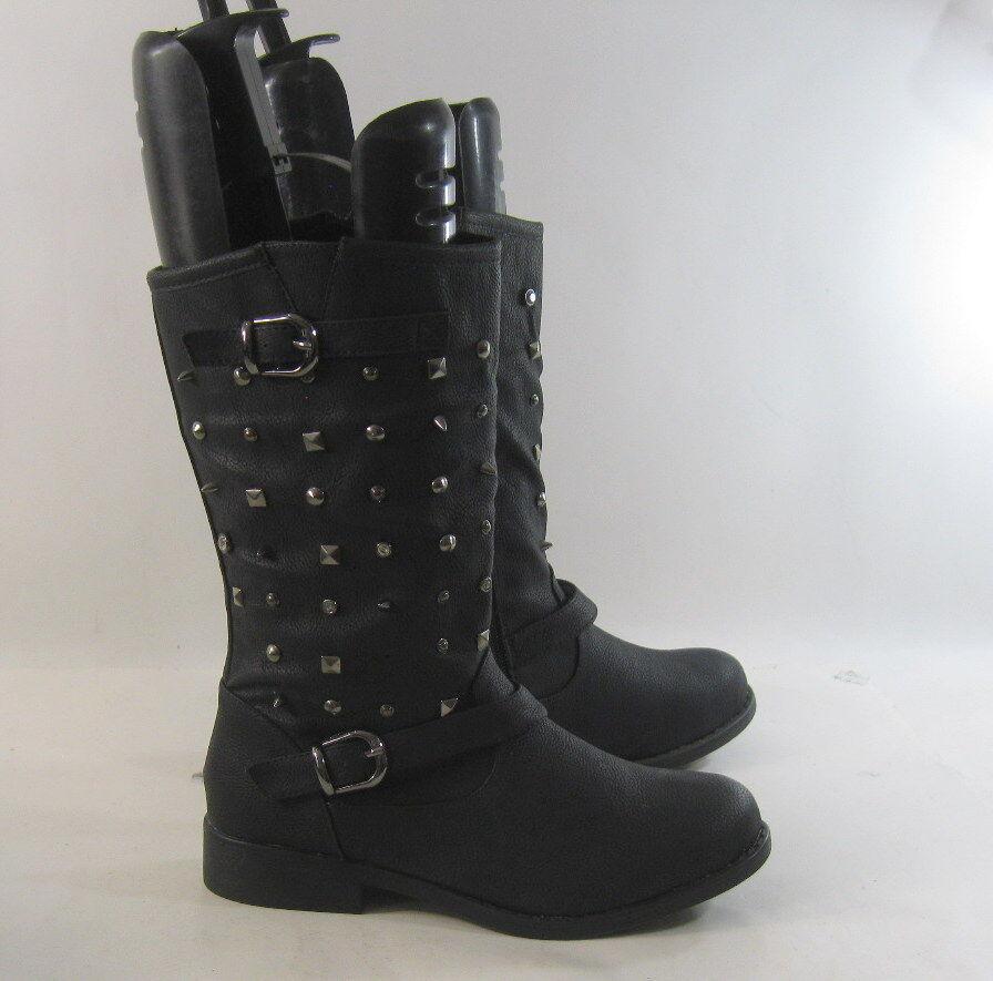 Black 1.5  Low Block Heel Sexy Combat Mid-Calf Spikes Stud Boots Size 9
