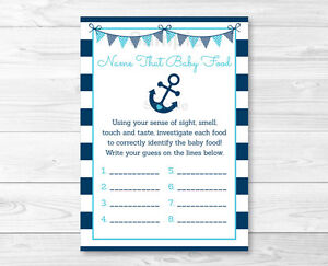 photo regarding Baby Food Game Printable named Data regarding Nautical Anchor Popularity That Boy or girl Food items Little one Shower Recreation Printable