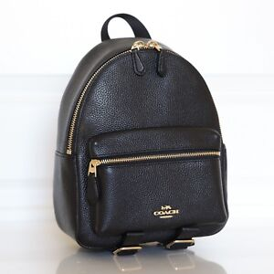07224e9048 Details about NWT Coach F38263 F28995 Mini Charlie Backpack Bag In Pebble  Leather Black