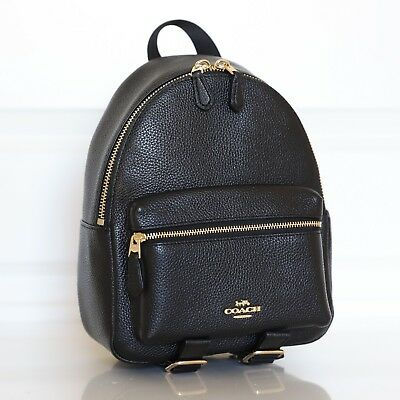 genuine shoes buy sale most desirable fashion NWT Coach F38263/F28995 Mini Charlie Backpack Bag In Pebble Leather Black |  eBay