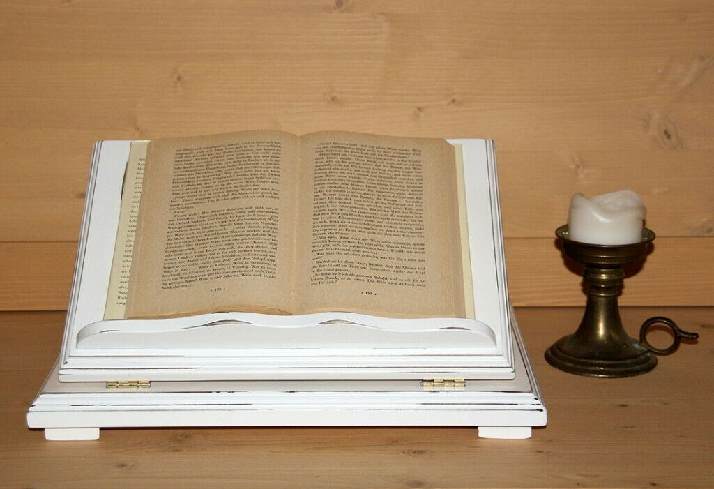 Notenständer Buchhalter Bücherstütze Buchständer Shabby Shabby Shabby massiv weiß Holz massiv | Erste Qualität  37623f