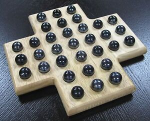 Details About Sebi Cross Solitaire Wooden Wood Board Game Set Black Marble Fun Classic Games