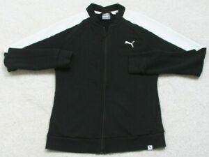 Puma Black White Athletic Jacket Coat Woman's Exercise Cotton Size Medium Zip Up