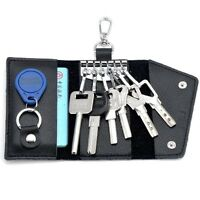 Men's Women's Cowhide Leather Key Ring Purse ID Card Holder Handbag Wallet Case